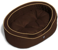 The Gramercy Park chocolate brown dog bed with banana piping.